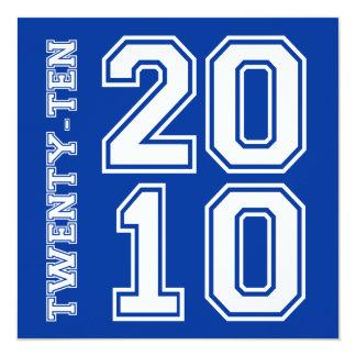 """311-Sporty Graduation Announcement Blue White 5.25"""" Square Invitation Card"""