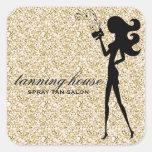 311 Spray Tan Fashionista Silhouette Faux Gold Square Stickers
