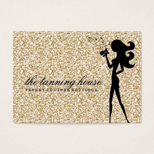 311 Spray Tan Fashionista Silhouette Gold Sparkle Business Card