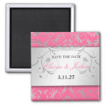 311-SSilver Divine | Luscious Pink Save the Date 2 Inch Square Magnet