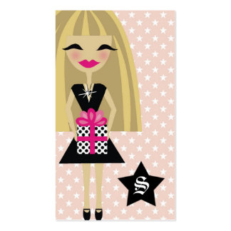 311-STEPHANIE BLONDE/STAR/GIFT with SPARKLE Business Card Template
