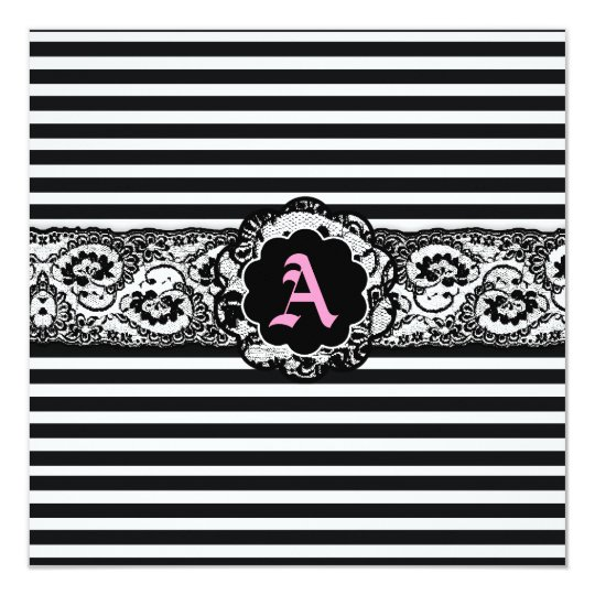 311-Striped Lace Square Black White Pink Card