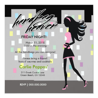 311-Stylish City Girl Night   Light Pink Colorful Card