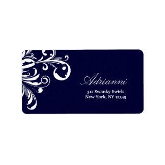 311-Swanky remolina etiqueta de los azules marinos Etiquetas De Dirección