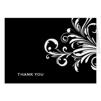 311-Swanky Swirls Black N White Thank you Card