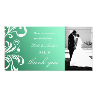311-Swanky Swirls Thank You Photo Mint Delight Personalized Photo Card