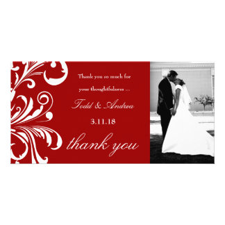311-Swanky Swirls Thank You Photo Red Photo Card