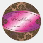 311-Sweet Blackberry Chocolate Truffle Damask Round Sticker
