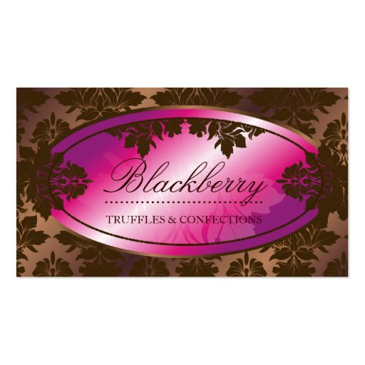 311-Sweet Blackberry ChocolateTruffle Damask Double-Sided Standard Business Cards (Pack Of 100)