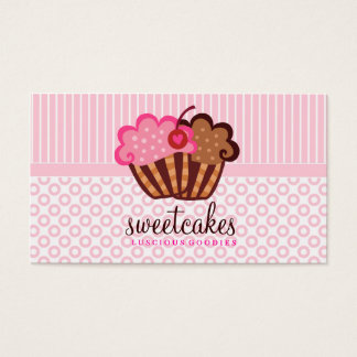 311 Sweet Cakes Cupcakes Dots n Stripes Light Pink Business Card