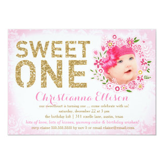 311 Sweet One First Birthday Floral Wreath Photo 5x7 Paper Invitation Card