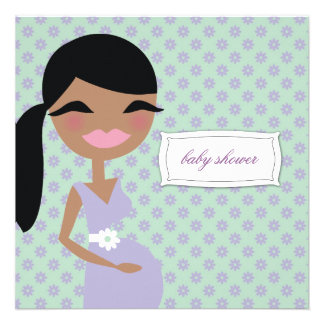 311-Sweet Pregnant Mommy Floral - Ethnic Custom Announcements