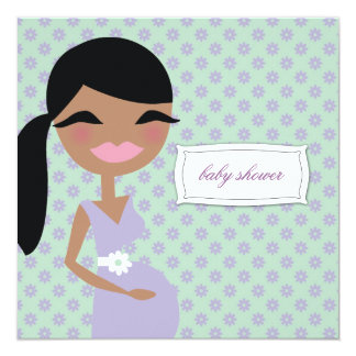 311-Sweet Pregnant Mommy Floral - Ethnic 5.25x5.25 Square Paper Invitation Card