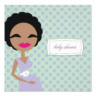 311-Sweet Pregnant Mommy Zebra - Ethnic Personalized Announcements