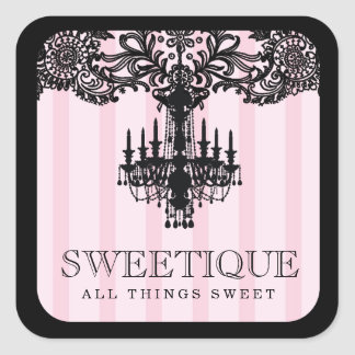 311 Sweetique Pink Stripes & Lace Chandelier Square Sticker