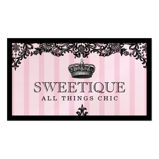 311 Sweetique Pink Stripes & Lace Shimmer Paper Business