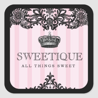 311 Sweetique Pink Stripes & Lace Square Sticker