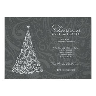 311-Swirly Christmas Tree | Gray Metallic Card