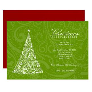 311-Swirly Christmas Tree | Green Metallic Card