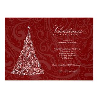 311-Swirly Christmas Tree | Red Metallic Card