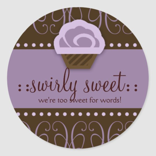 311 Swirly Sweet Purple Chocolate Classic Round Sticker
