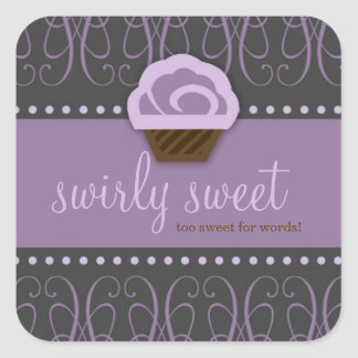 311 Swirly Sweet Purple Gray Square Sticker