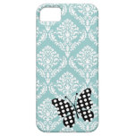 311 Teal Blue Damask Dotted Butterfly iPhone Cover iPhone 5 Cases
