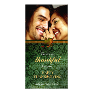 311-Thankful Green Damask Thanksgiving Card