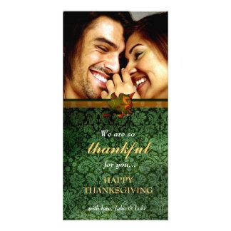 311-Thankful Green Damask Thanksgiving Photo Greeting Card