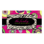 311-The Funky Jungle | Pink Flowers Business Card Template
