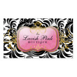 311 The Lavish Pink Plate Black Leaves Business Card