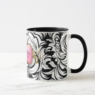 311-The Lavish Pink Plate | Black Mug