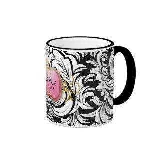 311-The Lavish Pink Plate | Black Coffee Mugs