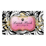 311-The Lavish Pooch | White Leaves Double-Sided Standard Business Cards (Pack Of 100)