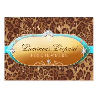 311 The Luminous Leopard Turquoise Trim Business Card Template