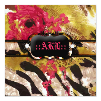 311-Tigress / Zebra Rose Bachelorette Card