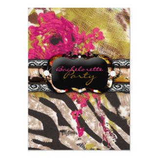 311 Tigress Zebra Rose Pink 5x7 Paper Invitation Card