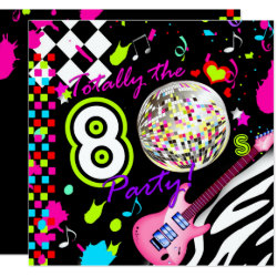 311 Totally the 80s Party Pink Guitar Disco Ball Invitation