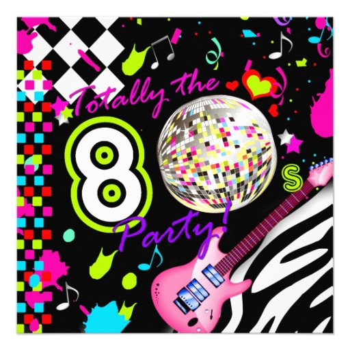 311 Totally the 80s Party Pink Guitar Disco Ball Personalized Invite