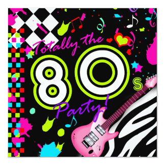 311-Totally the 80s Party - Pink Guitar 5.25x5.25 Square Paper Invitation Card