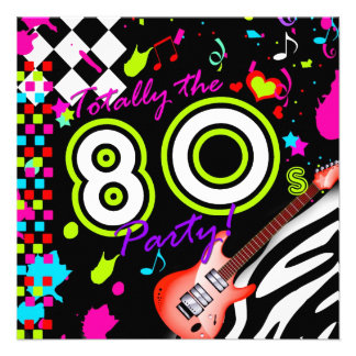 311-Totally the 80s Party - Red Guitar Personalized Invite