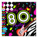 "311-Totally the 80s Party - Red Guitar 5.25"" Square Invitation Card"