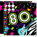 311 Totally the 80s Party - Turquoise Guitar Invitation