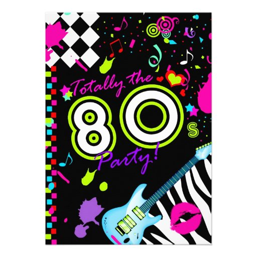 311-Totally the 80s Party - Turquoise Guitar Custom Invitation
