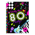 311-Totally the 80s Party - Turquoise Guitar 5x7 Paper Invitation Card