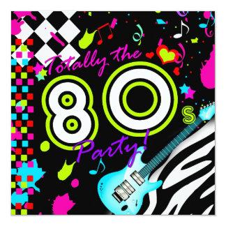 311 totalmente el fiesta de los años 80 - guitarra invitación 13,3 cm x 13,3cm