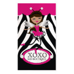 311 Trendy Little Dancer Pink Awning Zebra Pearl Double-Sided Standard Business Cards (Pack Of 100)