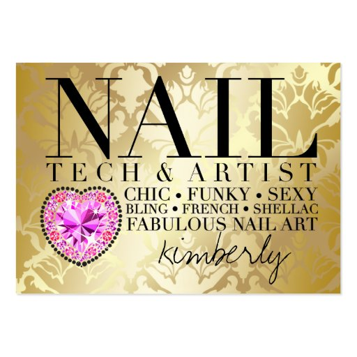 311 Tres Chic Damask Nail Tech Diamond Heart Business Card Templates