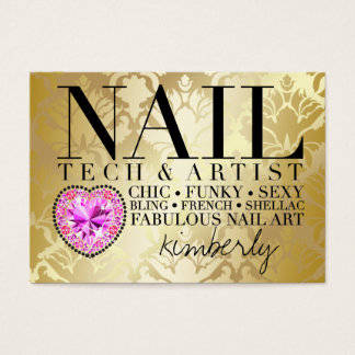 311 Tres Chic Damask Nail Tech Diamond Heart Business Card