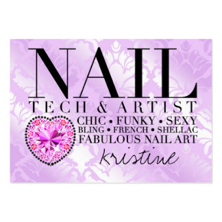 311 Tres Chic Damask Nail Tech Diamond Heart Large Business Card
